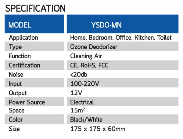 เครื่องฟอกอากาศ Yushi Ozonic YSDO-MN-B